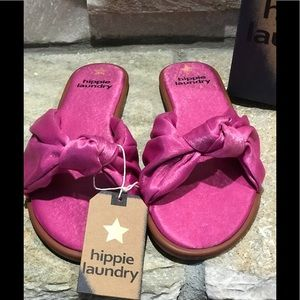 New with box Hippie Laundry pink Satin slides